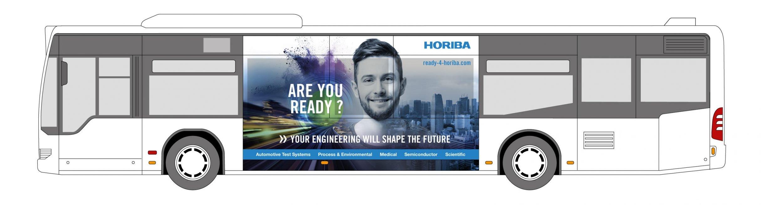 Recruiting Kampagne, Verkehrsmittelwerbung für HORIBA: DIE NEUDENKER® Agentur, Darmstadt