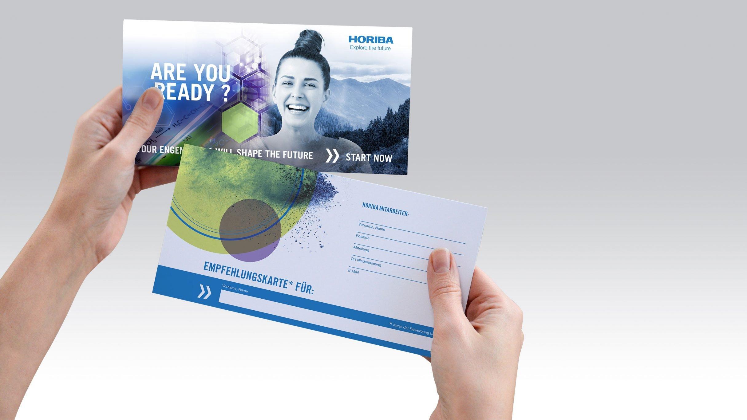 Recruiting Empfehlungskarte für HORIBA: DIE NEUDENKER® Agentur, Darmstadt