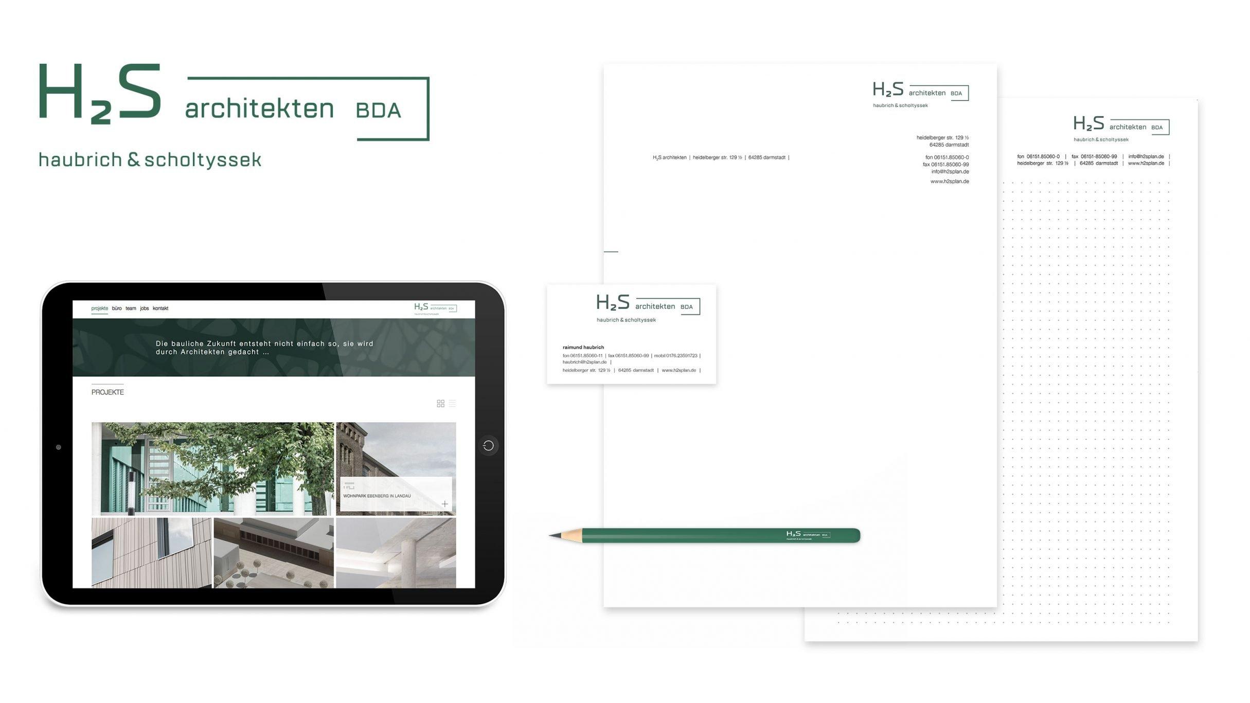 Corporate Design und Website für h2s architekten: Full Service Agentur DIE NEUDENKER, Darmstadt