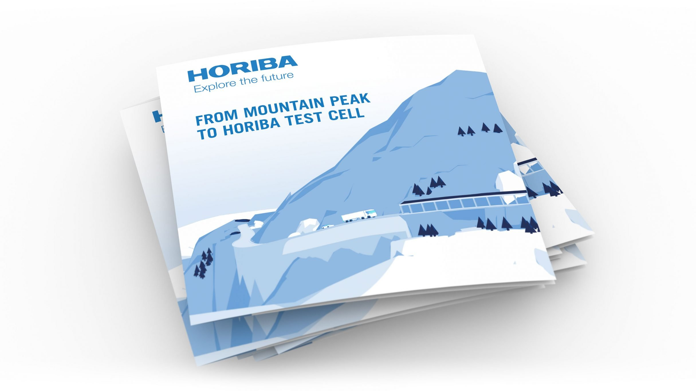 Stapel mit Messe Flyern für HORIBA auf der Automotive Testing Expo 2018