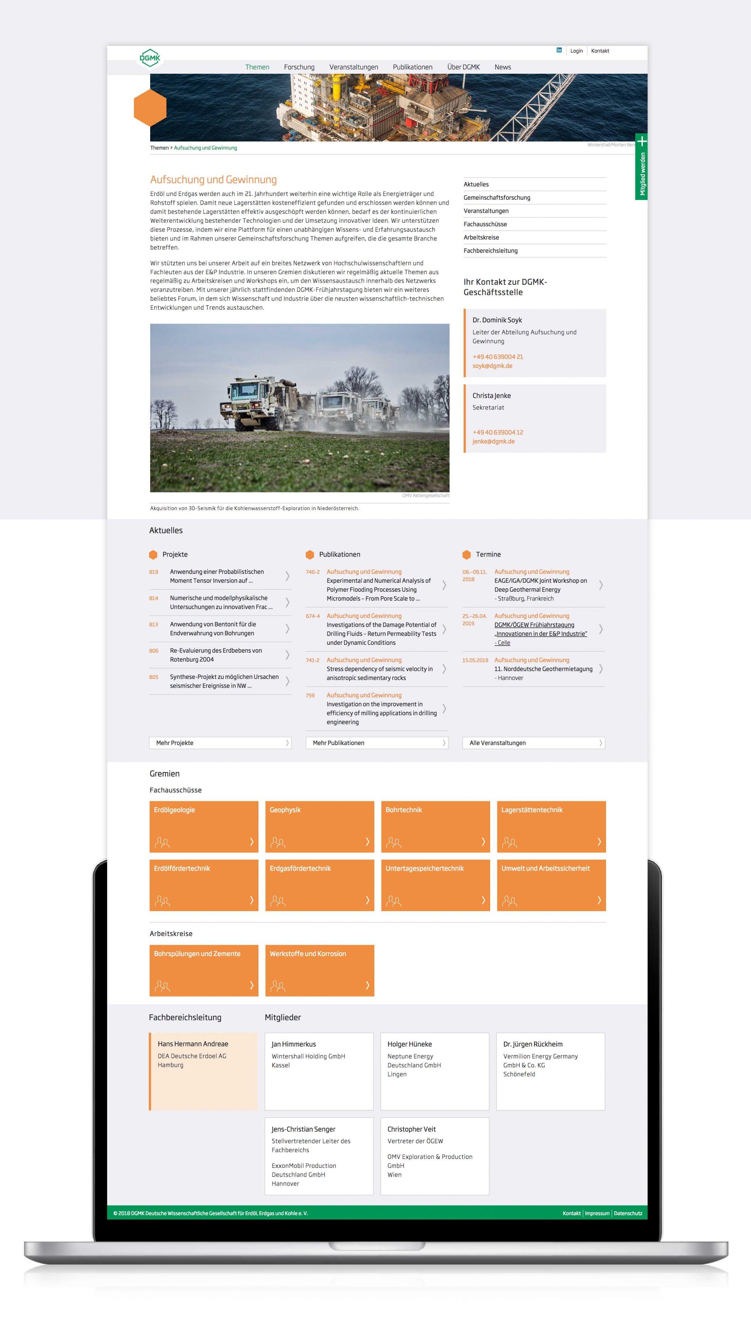 CMS-Website für DGMK: Wordpress Agentur DIE NEUDENKER, Darmstadt