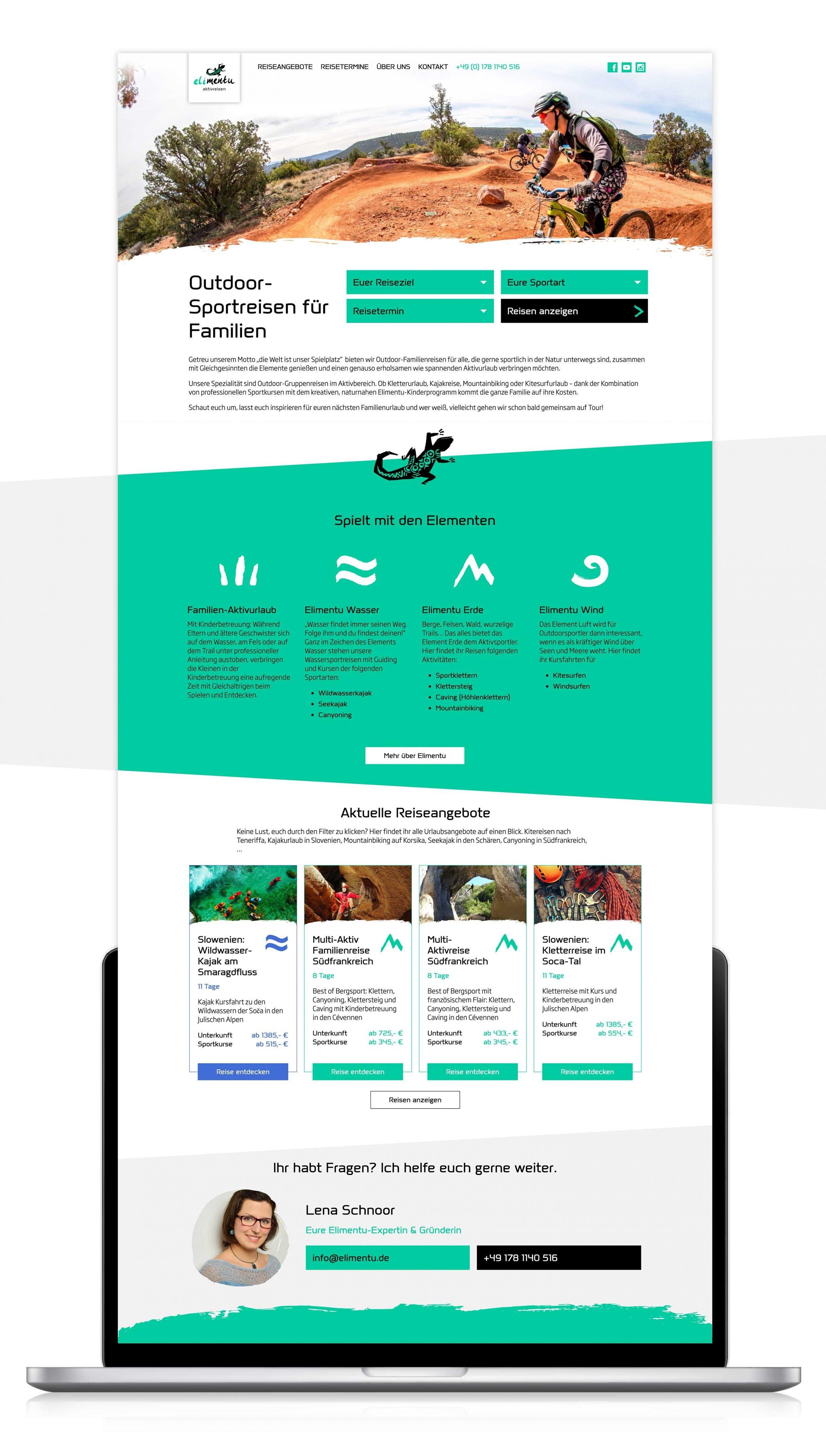Elimentu Sportreisen: UX optimierte Website von DIE NEUDENKER® Webagentur Darmstadt