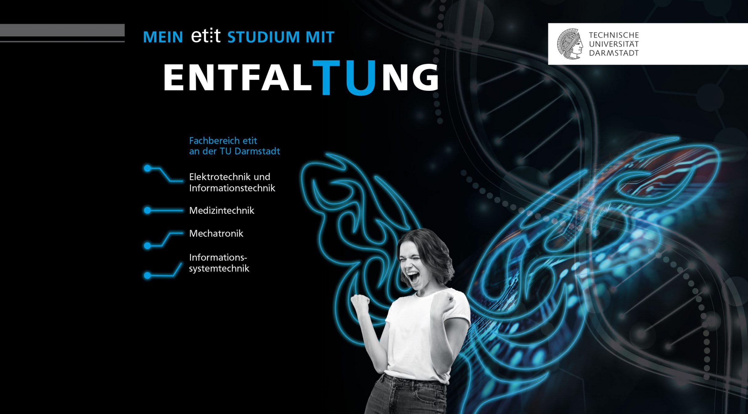 Entfaltung beim Studium: etit, Technische Universität Darmstadt. Keyvisual und Messestand auf der hobit von DIE NEUDENKER, Darmstadt